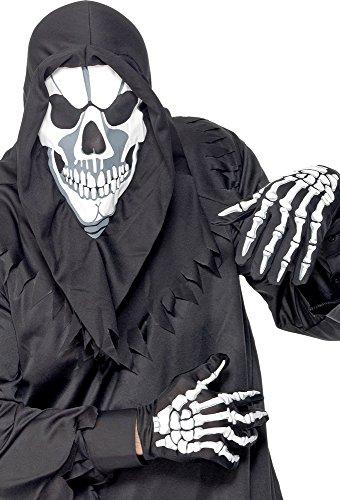Kostüme Machen Sensenmann (Skelett Halloween Set - Knochen Toter Leiche Set Maske Kapuze und)