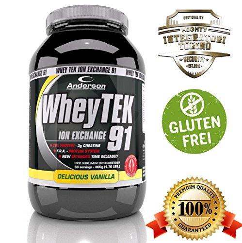 Integratore anderson whey tek gluten free (senza glutine) proteine del siero isolate con aminoacidi e creatina 800g cioccolato