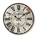 SADASD Regulator Europäischen ländlichen Amerikanischen antike Wanduhr Wohnzimmer mit modernen Holz- Uhr einfachen CD dekoriert - Mute Quarzuhr