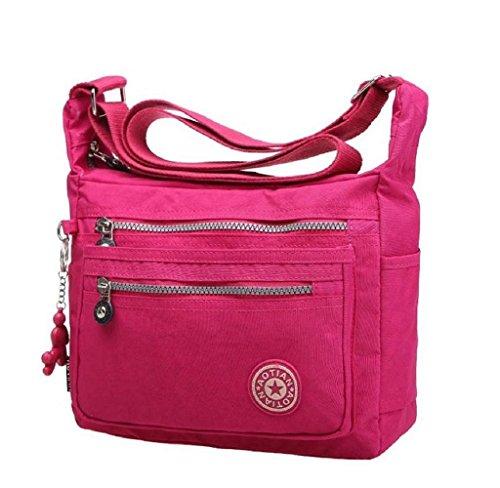 Malloom Waterproof Nylon Messenger Bags Shoulder Bags Women's Outdoor Bag (Hot Pink)