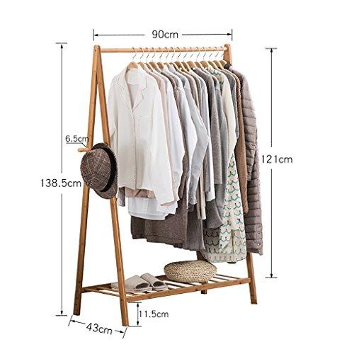 LOFTfan kleiderständer garderobe Kleiderbügel Landung einfache Garderobe kreative Wohnzimmer Bambus Kleidung Regal Schlafzimmer mobile Lagerregal Kleiderbügel garderobe hutablage (größe : 90cm)
