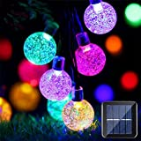 Solar Globe String Lights 20ft Solar Powered String Lights 30 Pcs LED Crystal Ball Lights Outdoor Waterproof Halloween Decorations Lights For Christmas, Garden, Yard And Party (Multicolor)