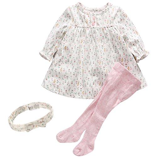 ng Set Blumen Kleid Langarm + Strumpfhosen 2pcs Bekleidungssets Outfits, 9-12 Monate ()