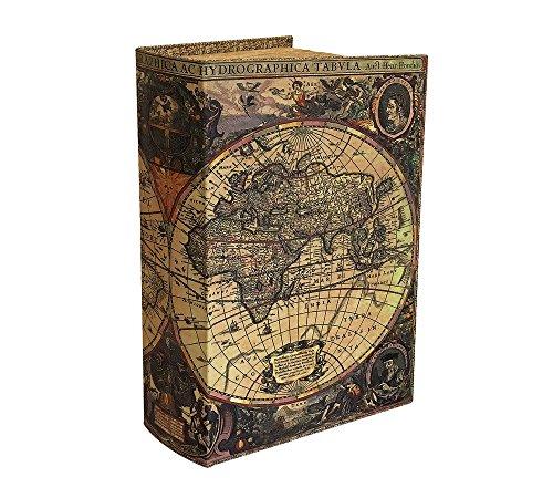 Hohles Buch mit Geheimfach Buchversteck Atlas Weltkarte Antik-Stil 21cm
