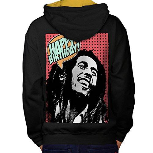 Bob Marlety Pot Geburtstag Bob Marley Men S Kontrast Kapuzenpullover Zurück | Wellcoda