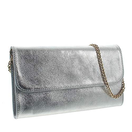 IO.IO.MIO Leder Clutch Damen Abendtasche Envelope Tasche mit Kette Silber metallic