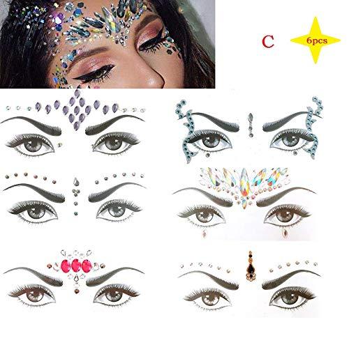 FYN Temporäre Tattoo-Aufkleber, Edelstein-Gesichts Aufkleber, Strass-Tattoos, Festliche Gesichts -