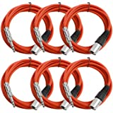 "Seismic Audio Seismic 6 Pack Red 1/4"" TRS - XLR Male 10' Patch Cables Red - SATRXL-M10Red6"