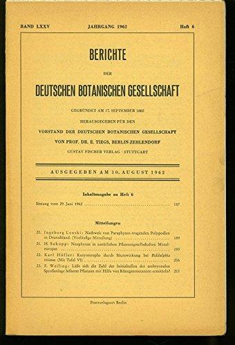 Nachweis von Paraphysen-tragenden Polypodien in Deutschland, in: BERICHTE DER DEUTSCHEN BOTANISCHEN GESELLSCHAFT, Heft 6 / 1962.