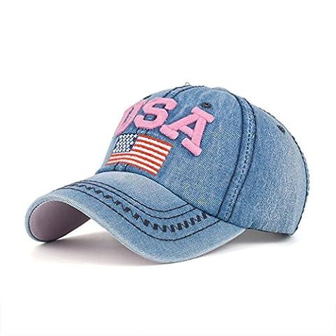 Casquette,Kolylong 2017 Femmes Hommes USA Flag Denim Rhinestone Baseball Cap Snapback Hip Hop Flat Sun Hat pour vacances d'été (D)