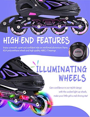 581680374bf24b 2pm Sport Vinal Viola Pattini Inline Regolabili, tutte le Ruote LED, Inline  skates per ragazze e ...