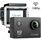 "CocopaCocopa Action Camera 12MP Full HD 1080P WIFI Sport Camera Waterproof Action Camcorder 2 "" LCD Screen 170 Degree Wide Angle Lens Rechargeable Batteries And 19 Mounting Accessories Kits"