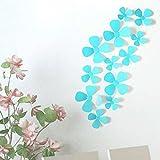 Malloom 12 Stücke 3D Acryl Klee Wandaufkleber für Heimtextilien Blau