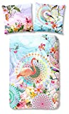 hip Bettwäsche Set 5589 Virginia multi bunt 100% Baumwolle Satin - 2 tlg - Flamingo Blumen Fantasy Design, Größe:200x200 cm + 2 x 80x80 cm