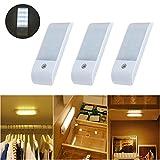 LuxVista 3-Modos USB Led Luz Noctura con Sensor de Movimiento de 55-180 Lúmenes para la iluminación de Pared, Armario, Pasillo, Escalera, Baño (3-Unidades, Luz Fría)