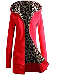 Tongshi Capa de las mujeres, además de terciopelo espesado con capucha del suéter del leopardo de la cremallera