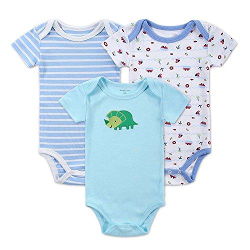 (pack de 3) 0-12 mois nouveau-né jumpsuit à manches courtes bébé barboteuse bambin nouveau-né coton tenue à manches courtes bébé vêtements