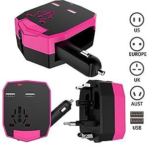 Fogeek Adattatore Universale da Viaggio Caricabatteria per Auto doppia porta USB Universale Charger Converter per US UK EURO AUST spina-Rosa Rossa