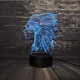 Illusion Optique Lampes 3D Art Sculpture Indienne Lumières 7 Changement De Couleur Interrupteur Tactile Led Table De Nuit Veilleuse