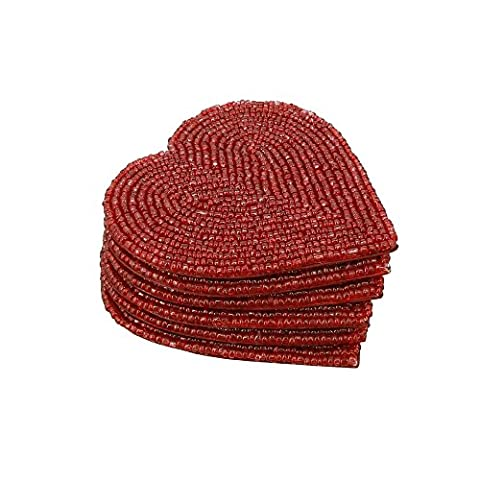 Handmade Beaded Heart Coaster Set With 6 Red, 10 CM Coasters - Heat-Resistant Polyester Backing & Genuine Glass