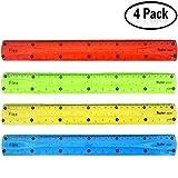 Yojoloin 4 confezione trasparente 12 pollici infrangibile Flexibel plastica righelli Soft 12