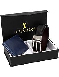 Creature Combo Of Blue Color Wallet For Men & Black-Brown Diamond Print Reversible Belt For Men(BL-013-WL-021)