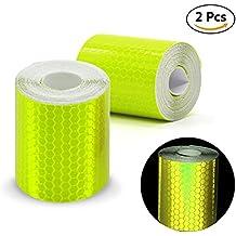 2pcs 3m * 50mm de alta Intensity prismático cinta rollo de vinilo autoadhesivo de seguridad reflectante cinta adhesiva de seguridad, amarillo