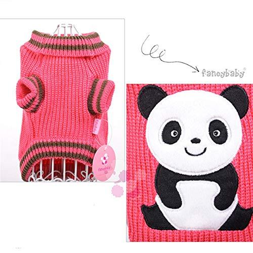 XUJJA Panda-Haustier-Hundekatze-Strickjacke-Bequeme warme Herbst-Winter-Strickjacke (Color : Color Rose, Size : L) (Bequeme Strickjacke)