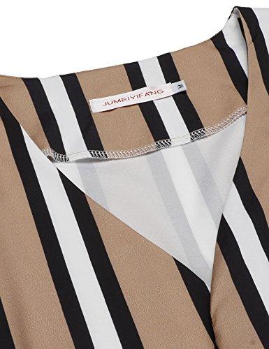 cooshional Jumpsuit Damen sexy elegant kurz Overall streifen Playsuit mit V Ausschnitt sommer Brau