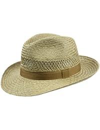 Bogart-Hut (Traveller) für Herren, lässiger Sonnenhut im Fedora Stil aus Stroh, idealer Begleiter für alle Western und Film Fans, verschiedene Größen, Farbe natur