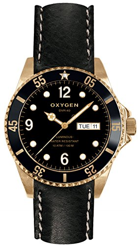 OXYGEN - EX-D-MIN-40-CL-BL - Montre Mixte - Quartz - Analogique - aiguilles luminescentes - Bracelet Cuir Noir