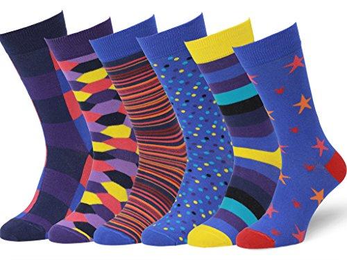 Easton Marlowe 6 Paar Fein Gemusterte Kleidersocken, 6 paar, 6pk #7, mixed - bright colors, Gr. 43 - 46 EU Schuhgröße