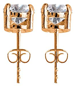 Round Solitaire 18K Rose Gold Plated Stud Earrings by BodyTrend -- 2mm quality synthetic diamond CZ crystal