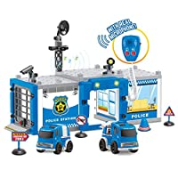 UMKY Police Station Playset With Real Microphone With 2 Firction Cars Best Toys For Boys Gift For Toddlers