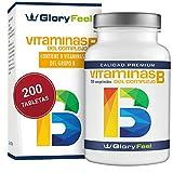 GloryFeel® Vitamina B Complex - 200 Comprimidos de Vitamina B - Altamente Concentrada - Complejo Vitamina B las 8 Vitaminas en una Pastilla - B1 B2 B3 B5 B6 B7 (biotina) B9 (ácido fólico) y B12