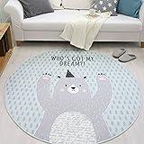 GWELL Süß Tier Motiv Fußmatten Runde Teppich Kinderzimmer Weich Plüsch Anti-Rutsch Kinderteppich für Schlafzimmer Wohnzimmer Bär 100 x 100 cm