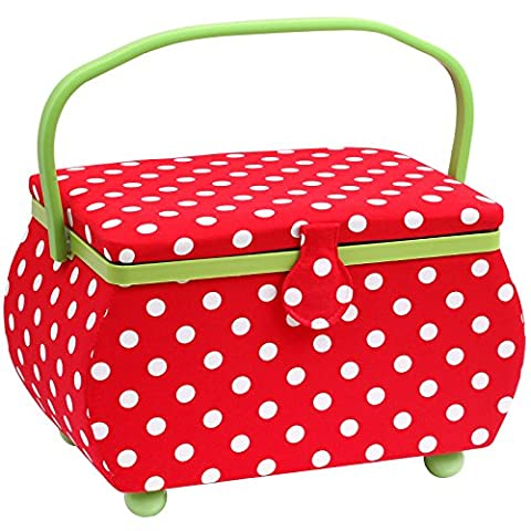 PRYM Polka Dot shaped-handle Nähkorb mit Lime Grün Trim, Baumwolle,
