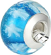Carina Snow Blue Murano Glass Charm Beads Fit Pandora Bracelet