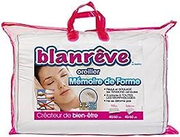 Blanrêve ORMEMHP034060 Oreiller Mousse Mémoire de Forme Ergonomique Blanc 40 x 60 x 0,1 cm
