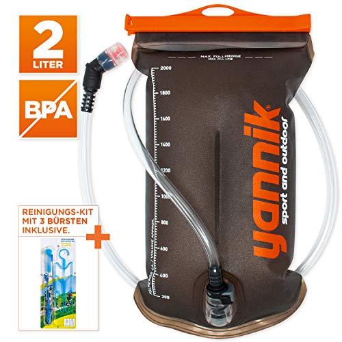 YANNIK Trinksystem 2L mit Beissventil + Reinigungskit | TPU Wasserblase | BPA-frei Trinkblase Trinkbeutel Auslaufsicher Antibakteriell Trinkrucksack