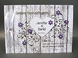 Gästebuch zur Hochzeit mit Namen 10028 Holzoptik in lila