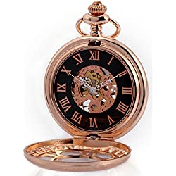 AMPM24 Rose Golden Skeleton Hand-Winding Mechanical Pendant Analog Pocket Watch WPK223 + AMPM24 Gift Box