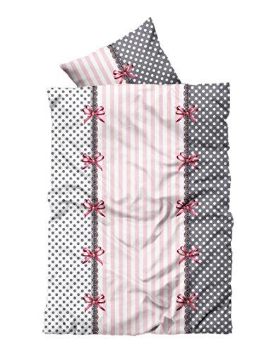 4 tlg Bettwäsche 135 x 200 cm rosa weiß 2 Garnituren Reißverschluss (Komfort Bettwäsche Kissenbezüge)