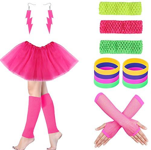 Milacolato 80er Jahre Outfit Kostüm Zubehör Beinlinge Handschuhe Neon Ohrringe Armband Sets für 1980er Jahre Thema Party Supplies (Madonna Outfits Aus Den 80er Jahren)