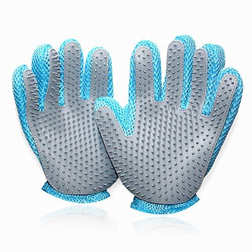 LEMPE Handschuhe für Haustiere - Pet Bürste Handschuhe, Fellpflege-Handschuhe Massagehandschuhe Silikon und Stoff Kleiner (2 Paket)