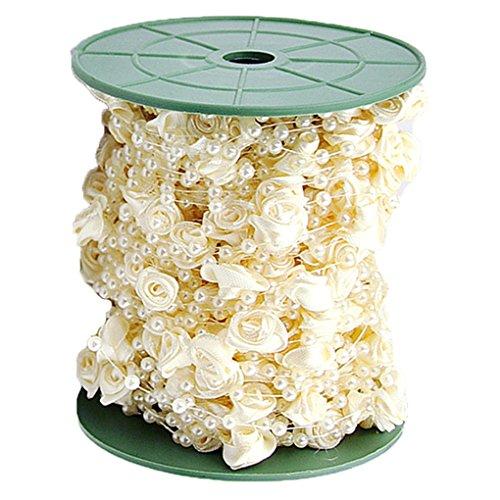 QHGstore Rose Pearl String Ribbon Wrap da sposa Bouquet ghirlanda decorazione del centro beige