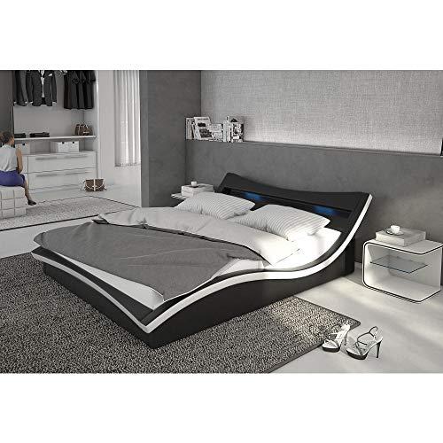 Polster-Bett 140x200 cm schwarz-weiß aus Kunstleder mit LED-Beleuchtung | Magari | Das Kunst-Leder-Bett ist ein Designer-Bett | Doppel-Betten 140 cm x 200 cm mit Lattenrost in Leder-Optik, Made in EU -