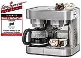 Kaffee/Espresso Center EKS 3010 ElPresso Duo deluxe - Edelstahl, Filterkaffeemaschine, Siebträger, Düse für Milchschaum/Heißwasser, programmierbare Tassenfüllmenge