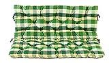 Ambientehome 2er Bank Sitzkissen und Rückenkissen Hanko, kariert grün, ca 120 x 98 x 8 cm, Bankauflage, Polsterauflage