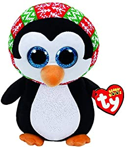 Ty Beanie Boos Navidad Penelope-Pingüino 23 cm (37148TY), Color Negro, Blanco (United Labels Ibérica